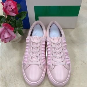 TORY BURCH RUFFLE SNEAKER COTTON PINK LEATHER